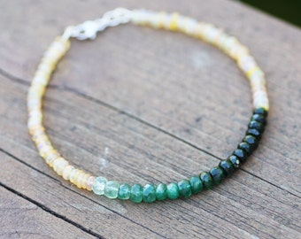 Natural Ethiopian Wello Opal And Natural Emerald Bracelet in Solid 14K White Gold , 14th 20th Anniversary , May October Birthstones