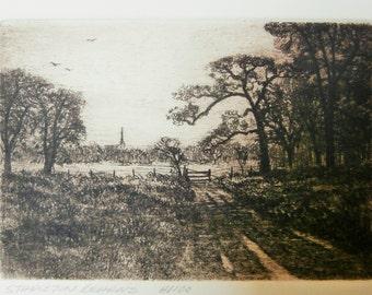 1970's, Etching on Linen Paper, Stapleton Kearns, Rockport Etching Group,  Landscape