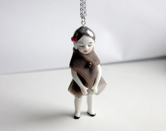 porcelain doll long necklace with beautiful details all handmade perfect gift Capucine