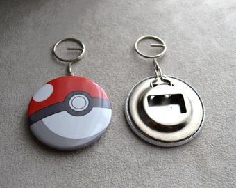 "bottle opener and keychain ""POKEMON"" round measuring 5.8 cm in diameter"