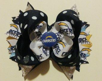 San Diego Chargers hair bow