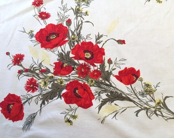 Vintage Poppy Tablecloth, 1950's Red Poppies, Yellow Wildflowers Printed Cotton, 48 x 52