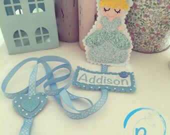 Personalised Blue Bella Hair clip holder