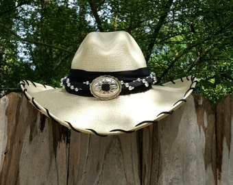 Palm Cowgirl Hat and Handmade Hatband with Silver colored beading and Silver metal Concho and Suede laced brim