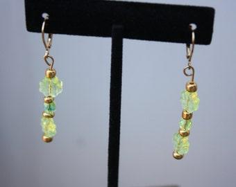 Vaseline Glass Flower Dangle Earrings