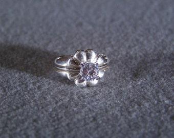 Vintage Sterling Silver Round cubic zirconia Wedding bridal engagement ring band guard Set Size 6          **RL