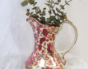 Cherub Chintz Rose Pitcher Shabby Chic - Pink Rose Floral Pitcher Victorian Style -  Collection by Baum Bros