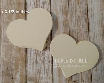 Bride Groom Advice Heart, 100 Ivory Wish Heart, Ivory Paper Heart,  3 Inch Die Cut Paper Heart, Heart Cards (3x3 1/2)