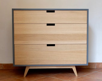 Three drawers dark gray and natural oak Dresser