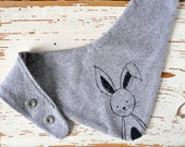 Baby Bib - Organic Cotton Jersey - Gray with Black Bunny Print - Baby Shower Gift - Theeting Drool Bandana - Cute Animal Print