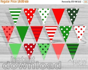 X-mas in July SALE 50%Off Christmas Printable Banner, Polka Dot, striped pennant, red, green, party bunting banner, instant digital download