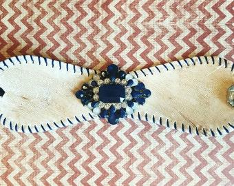 Vintage Antiqued Navy Jeweled Baseball Cuff Bracelet