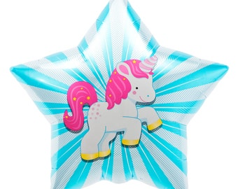 22 In Unicorn Theme Birthday Blue Star Party Foil Mylar Balloon New Born Baby Shower Boy Party