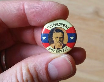 Teddy Roosevelt Genuine Imitation Campaign Button