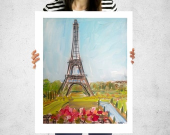 Eiffel Tower Print, Paris, print of watercolor, paper or canvas print