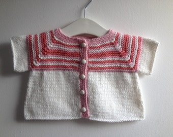 baby girl hand knitted cardigan, 100% cotton,  white and pink stripes, button front opening,