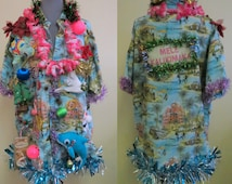 Tropical Tacky Ugly Christmas Sweater Party Hawaiian Shirt Light up,   Melted Snowman Mens Xlarge Womens, Funny Christmas Sweater,