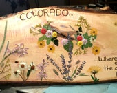CLEARANCE Colorado Sign Basswood Made with Real Pressed Flowers, Colorado Grasses, Where the Deer and the Antelope Play Sign, Wildflowers
