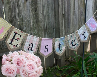 Custom EASTER bunting banner flag...Easter, bunny, holiday