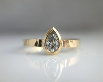 Pear Diamond Rustic Engagement Ring- Pear Diamond Conflict Free Recycled Gold Hammered Engagement Ring