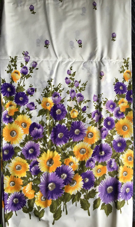 Vintage Floral Border Print Cotton Fabric // 3 yards 33 in by 37 inches wide > purple, yellow on white- dress, skirt