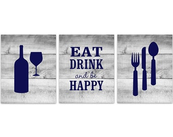 Blue Kitchen Wall Art, INSTANT DOWNLOAD, Fork Spoon Knife Art, Wine Art Print, Dining Room Art, Eat Drink and Be Happy Quote - HOME149