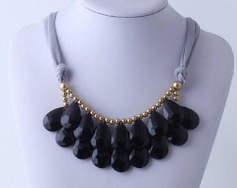 Black Necklace, Bib Necklace, Anthropologie Black Statement Necklace, Teardrop Necklace, Statement Necklace