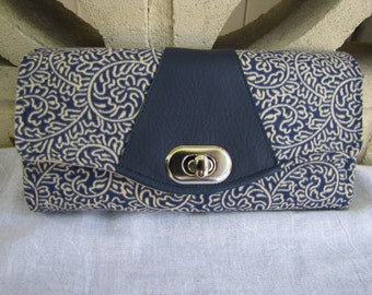 Dark Blue and Cream Wallet