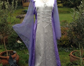 Bespoke one off mauve fairy elven  renaissance medieval pagan  wedding dress / handfasting gown UK 14 to 22 / us 12 to 20
