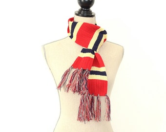 Vintage Wool Scarf - 50s/60s Wool Striped Scarf - Fringed Wool Scarf