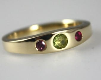 Sentiment ~ Gold Birthstone ring, Alternative Engagement Ring, Multi-stone Ring