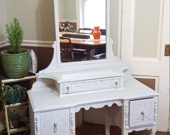 SOLD Customize Vintage Shabby Cottage Fancy Dressing Table Makeup Vanity Desk Bedroom