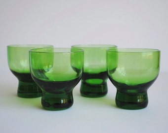 Vintage Green Shot Glasses, s/4