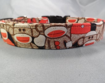 Sock Monkey Dog Collar on Black
