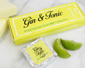 Gin & Tonic Fizzing Bath Bomb Tablets, Lemon, Lime, Juniper Berry.