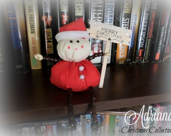 Santa Claus Shelf Sitter with Wooden Merry Christmas Sign. Ornament. Shelf Ornament. Unique. Gift. Stocking Stuffer. Christmas Gift.