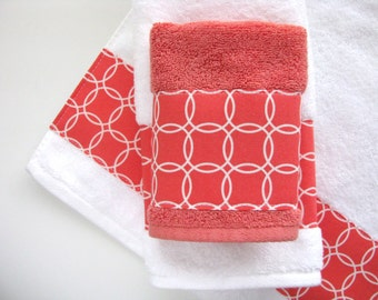 Coral White Towels Hand Towels Bath Towels Custom Towels Coral Towels