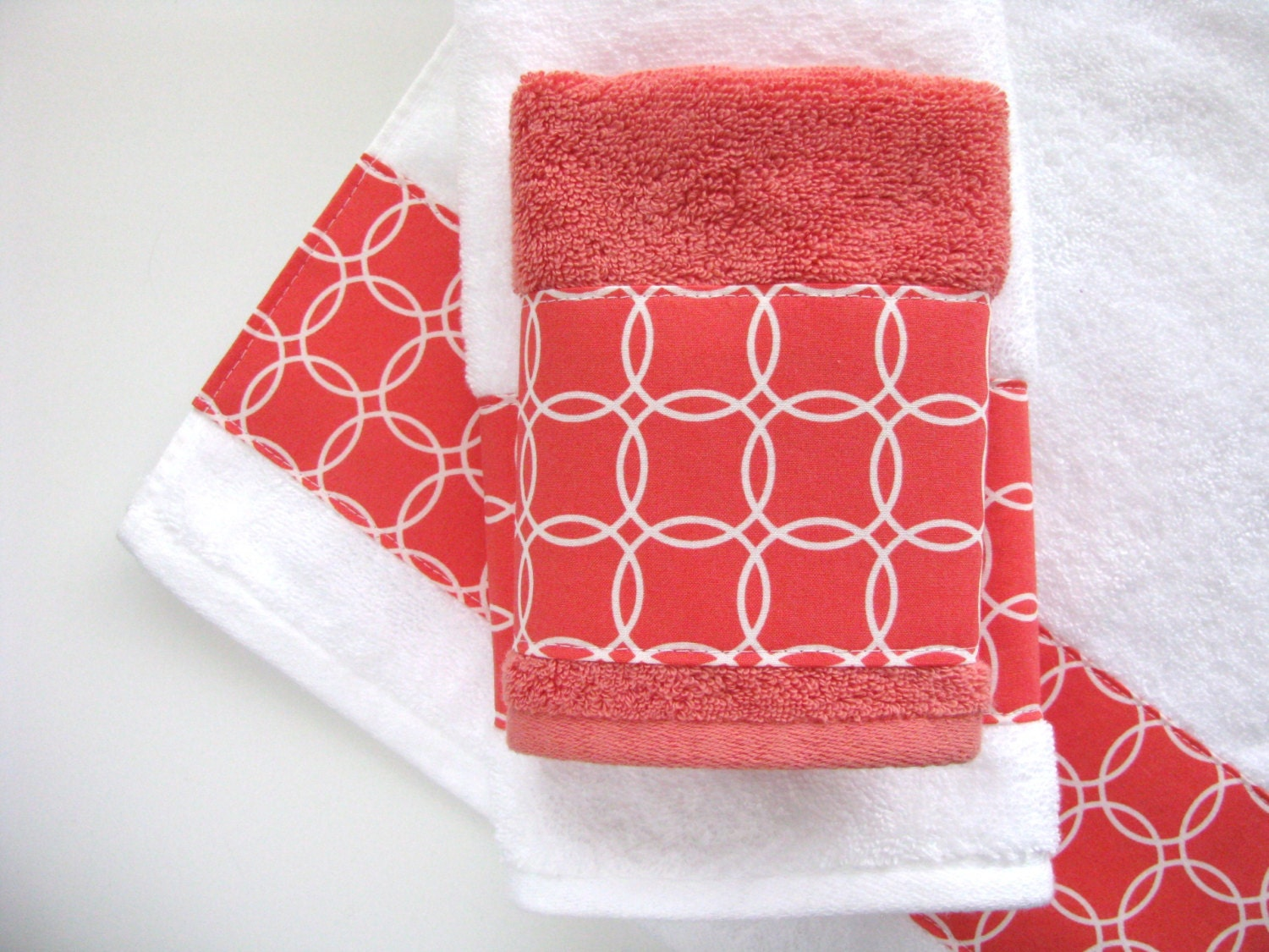 Coral white towels hand towels bath towels custom towels for Bathroom hand towels
