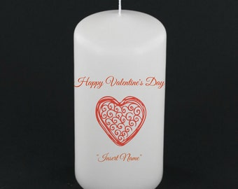 Happy Valentines Day Candle - Customize - Heart - Vday - Love