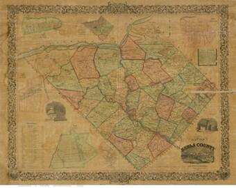 Berks County Pennsylvania 1854 -  Wall Map with Homeowner Names  -  Genealogy - Reprint