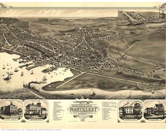 Nantucket, Massachusetts- 1881 Birds Eye View -  J.J. Stoner