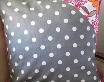 Pink Flower Pillow Cover 18 x 18 inch Flower Pillow Cover Orange Flower Pillow Cover Gray Polka Dot Pillow Cover Polka Dot Pillow Cover