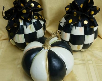 "WhimsicalBlack and White Check Tiny Pumpkin Patch ""Double the Checks"" 8 and 7 Inches Tall"