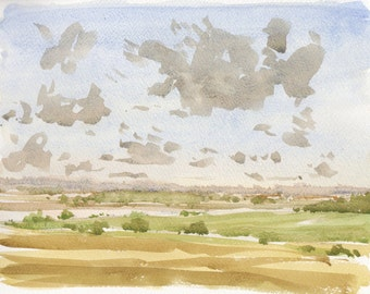 French countryside original watercolor landscape original wall art blue art french art originla wall art french painting home deco