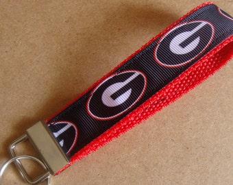 Georgia Bulldogs Key fob // Bulldogs keychain // Georgia Bulldogs Football // Bulldogs Wristlet
