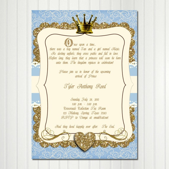 once upon a time invitation little prince baby shower boy, Baby shower invitations