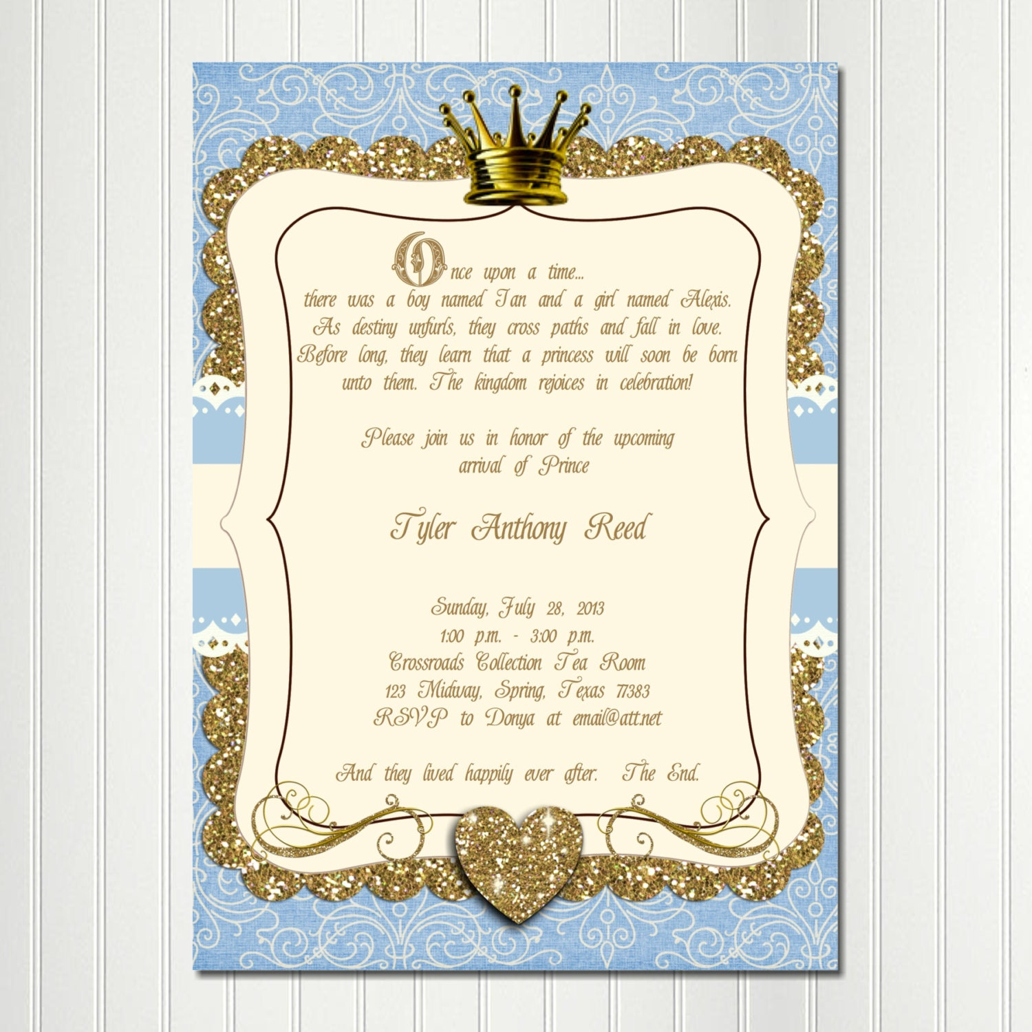 ce Upon a Time Invitation Little PRINCE Baby Shower Boy