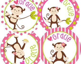 Set of 12 Personalized Gift Tags-Monkey Design