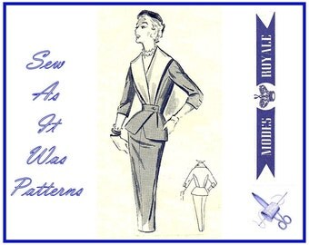 1950s Modes Royale 1534 Suit Peplum Jacket Reveres Pencil Skirt With Sew In Label Vintage Sewing Pattern Misses' Size 12 Bust 32