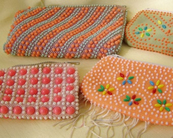 Sweet and Girly Little Beaded Coin Purses, 1980's